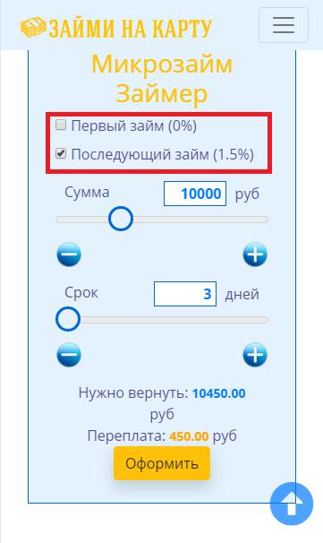 калькулятор расчета займа: проценты